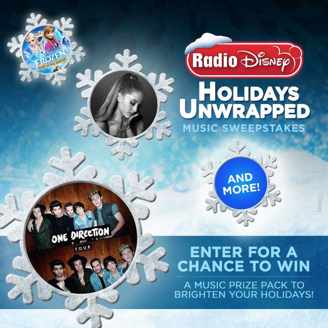 Radio disney sweepstakes holiday unwrapped music
