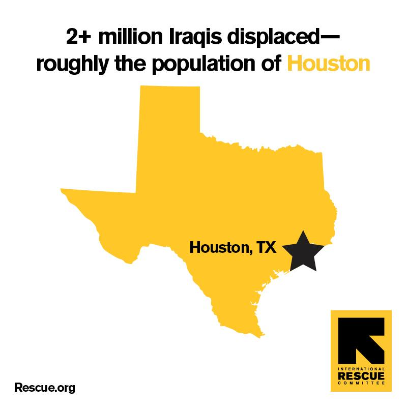Since Jan 2014, 2 million Iraqis--equal to the population of Houston--have been displaced: http://t.co/Be85xOJOFi http://t.co/QW1DQ1MlQK