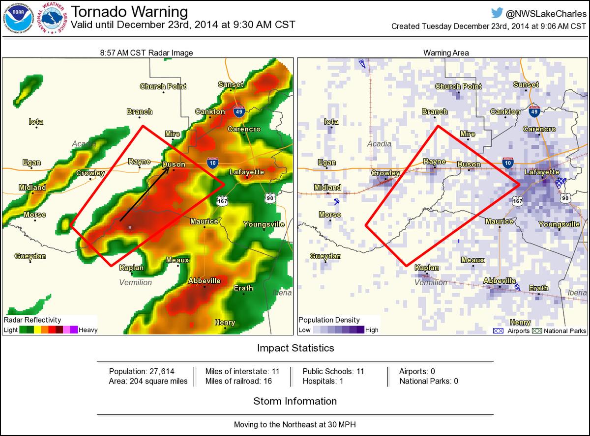 Tornado Warning Including Rayne La Duson La Until 9 30 Am Cst