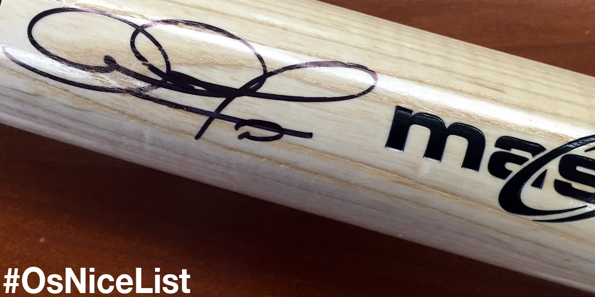 RETWEET this tweet to be entered to win the gift of a signed @SimplyAJ10 bat today! #OsNiceList http://t.co/6nRh3Ajy63