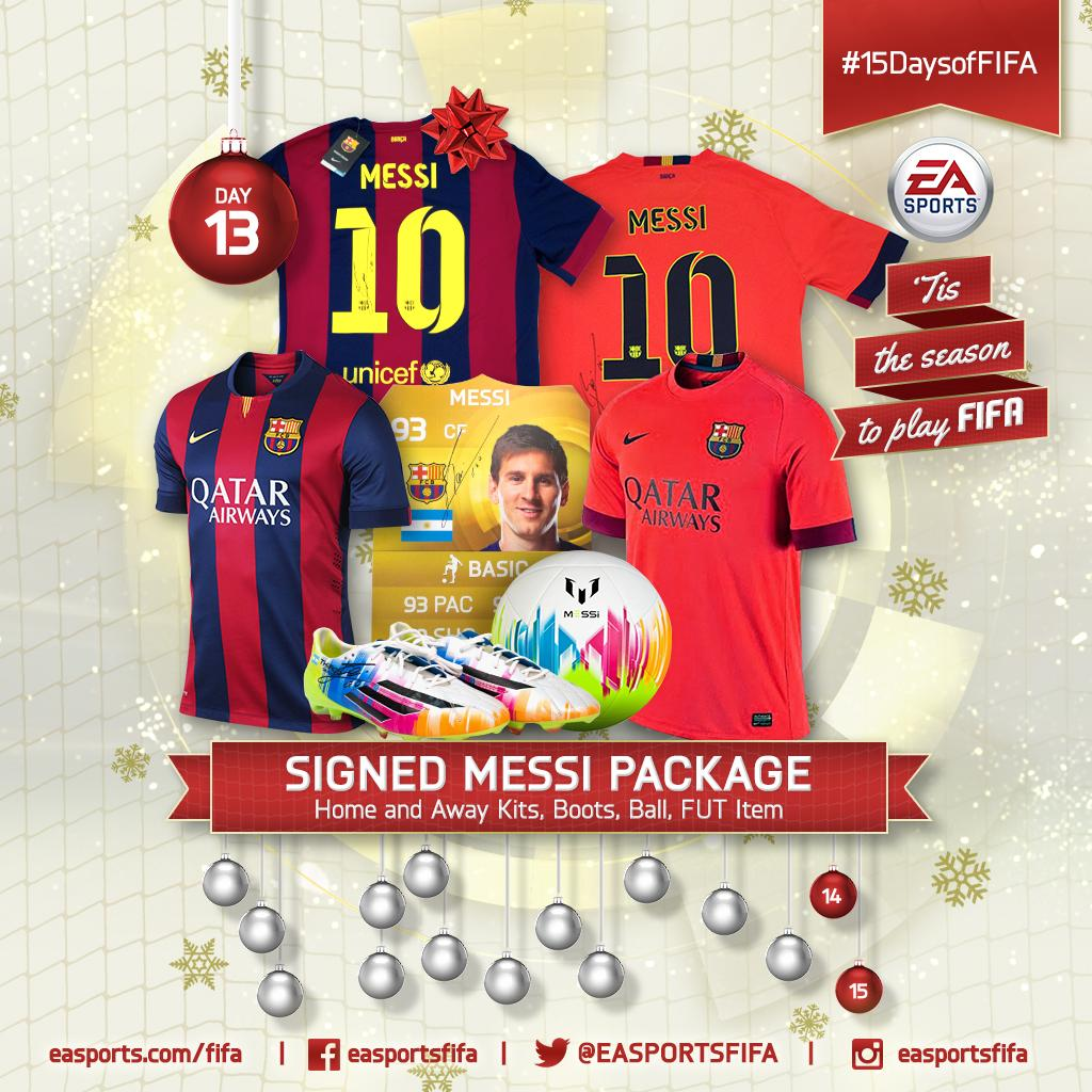 Day 13: Signed #Messi package! FOLLOW @EASPORTSFIFA and RETWEET for a chance to win. #15DaysofFIFA http://t.co/VSksAvL3Xo