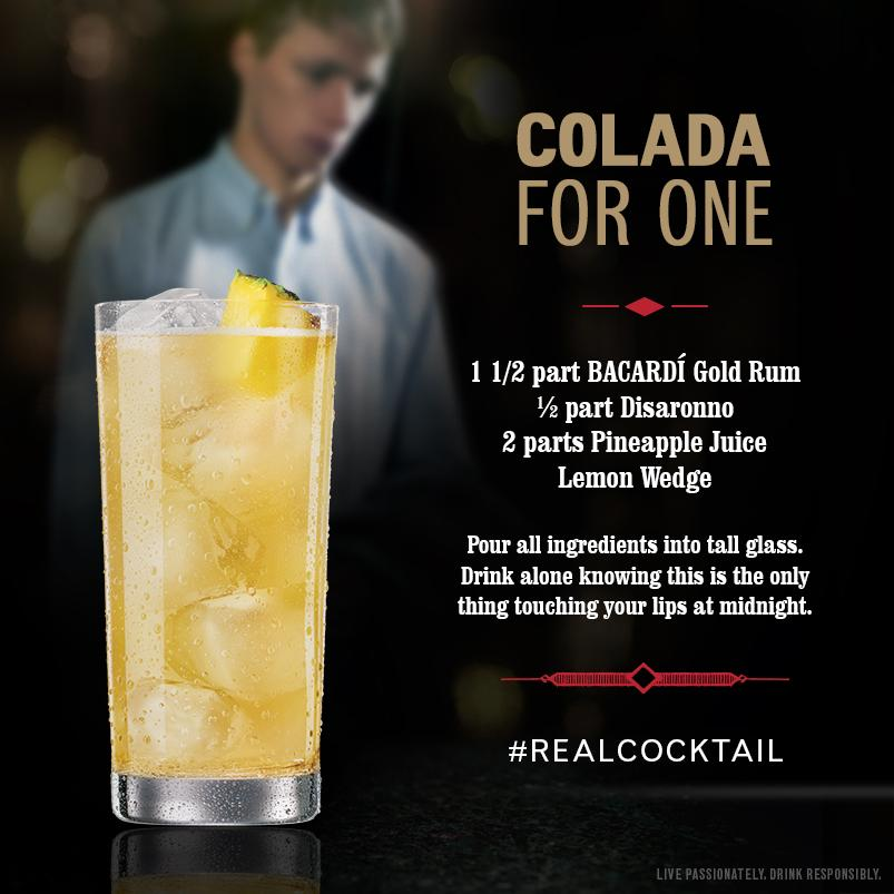 You're not technically alone this #NewYearsEve. You are in a room full of people kissing & a @Bacardi #RealCocktail http://t.co/YVRKjut5ij