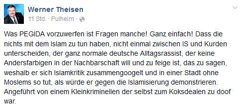Der Fraktionschef der CDU in Pulheim erklärt Pegida