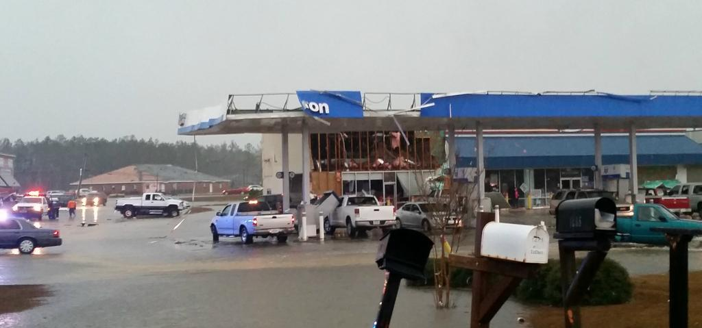 Picture: RT@MS_TeresaM: Hwy 98 in Columbia, #MS.  #Tornado damage.  Keith's Super Store.  @NickLiljaWDAM http://t.co/G57zqLujoR