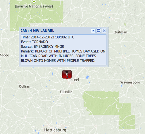 DEVELOPING: NWS: Emergency manager reports homes damaged w/ injuries and people trapped near Laurel #MS (3:30 pm CT) http://t.co/4frmX8XQfN