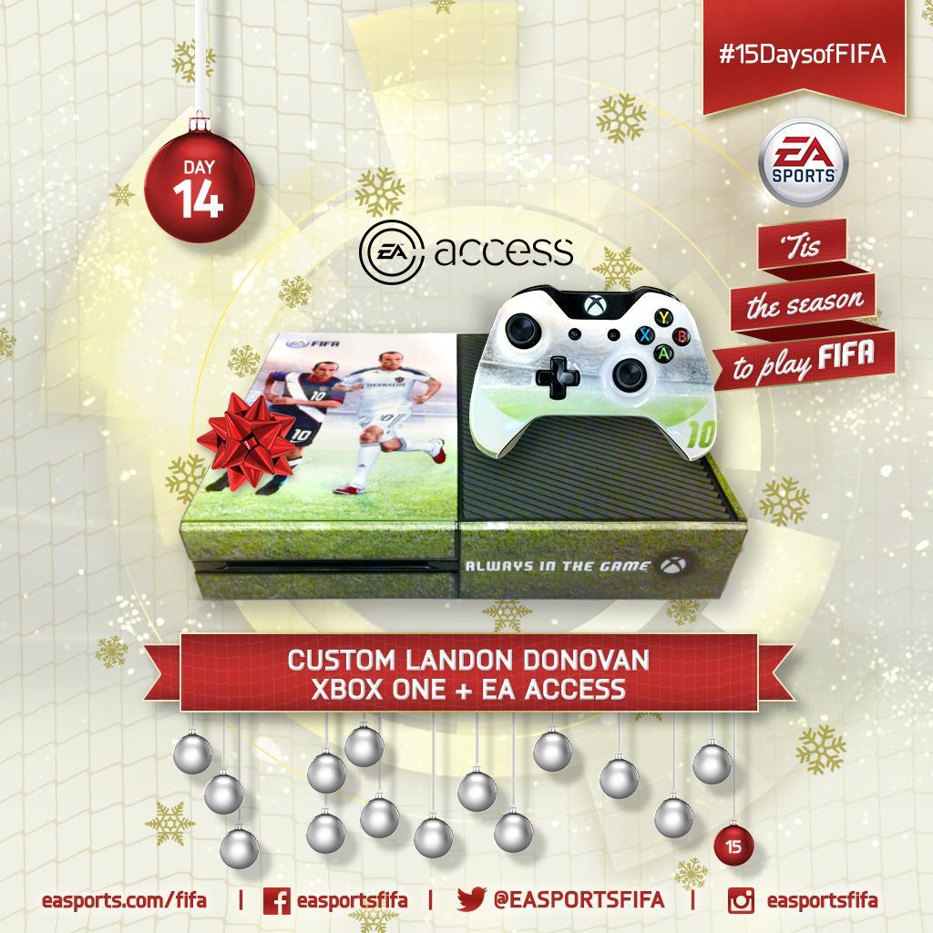 Day 14: custom @landondonovan #XboxOne + @EAAccess! FOLLOW @EASPORTSFIFA and RETWEET to win. #15DaysofFIFA http://t.co/aY8lce0uaD