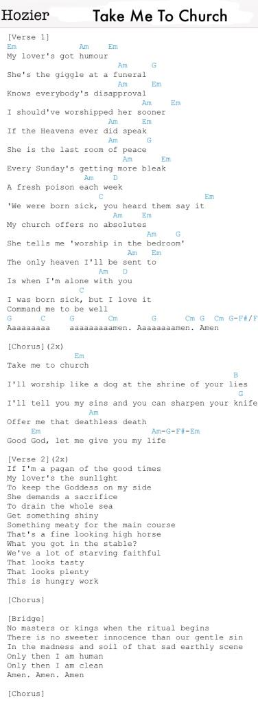 Dule On Twitter Chords And Lyrics For Hoziers Take Me To Church