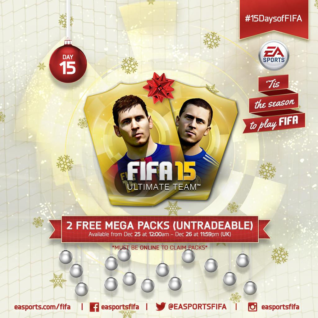 Last #15DaysofFIFA giveaway: 2 FREE UNTRADEABLE MEGA PACKS for all! Login within 48hrs to claim yours. Merry #FUTmas! http://t.co/QZGw9UcHkh