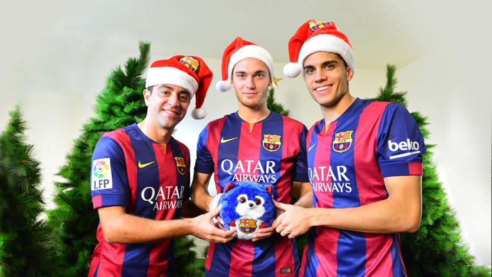 Felicitaciones De Navidad Del Fc Barcelona.Bartra Vermaelen Navidad Xavi Bartra Vermaelen Cagan Tio