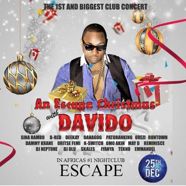 Party with davido and friends tonyt inside escape,Merry Xmas yall,Hv a fruitful one,From da one and only Mr #Repete http://t.co/WyzfR1ELZF