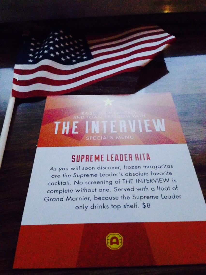 "Movie theater in Austin suggests ordering the ""Supreme Leader Rita"" as your drink while watching ""The Interview."" http://t.co/MgqwUuPuH7"