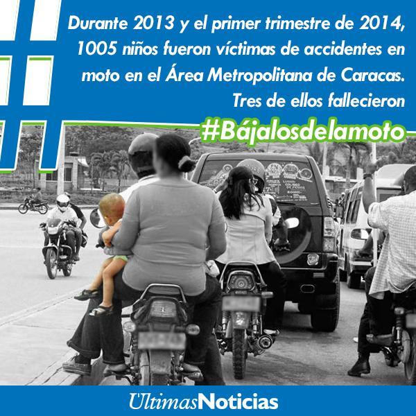 #OJO Los niños corren un alto riesgo de muerte al ser trasladados en moto  #Bájalosdelamoto http://t.co/1v2MKqSqCT Vía  @UNoticias