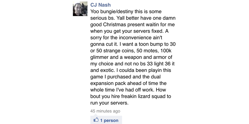 this guy is pissed & has a set of very specific demands for compensation. let's hear him out. #destiny #xboxlivedown http://t.co/8SXWmPRCnh