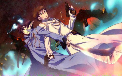 青の祓魔師の真剣な表情の奥村兄弟