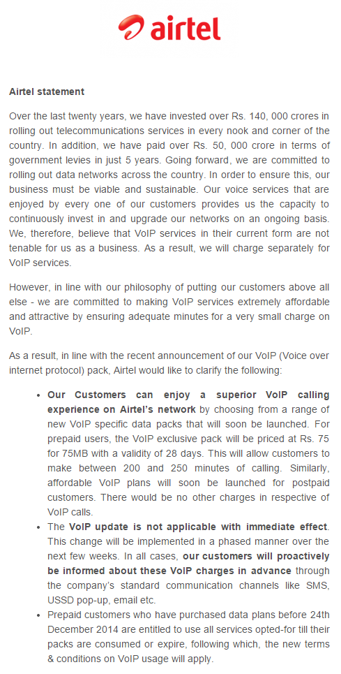 Airtel's official statement. VoIP Pack will cost Rs. 75 for 75MB http://t.co/lExNGPW6v4