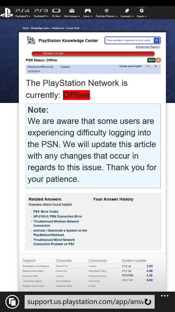 I was super excited about our new 20th anniversary #ps4, but now that #psn is down the console is bricked. WTF http://t.co/wtVyZKaULq