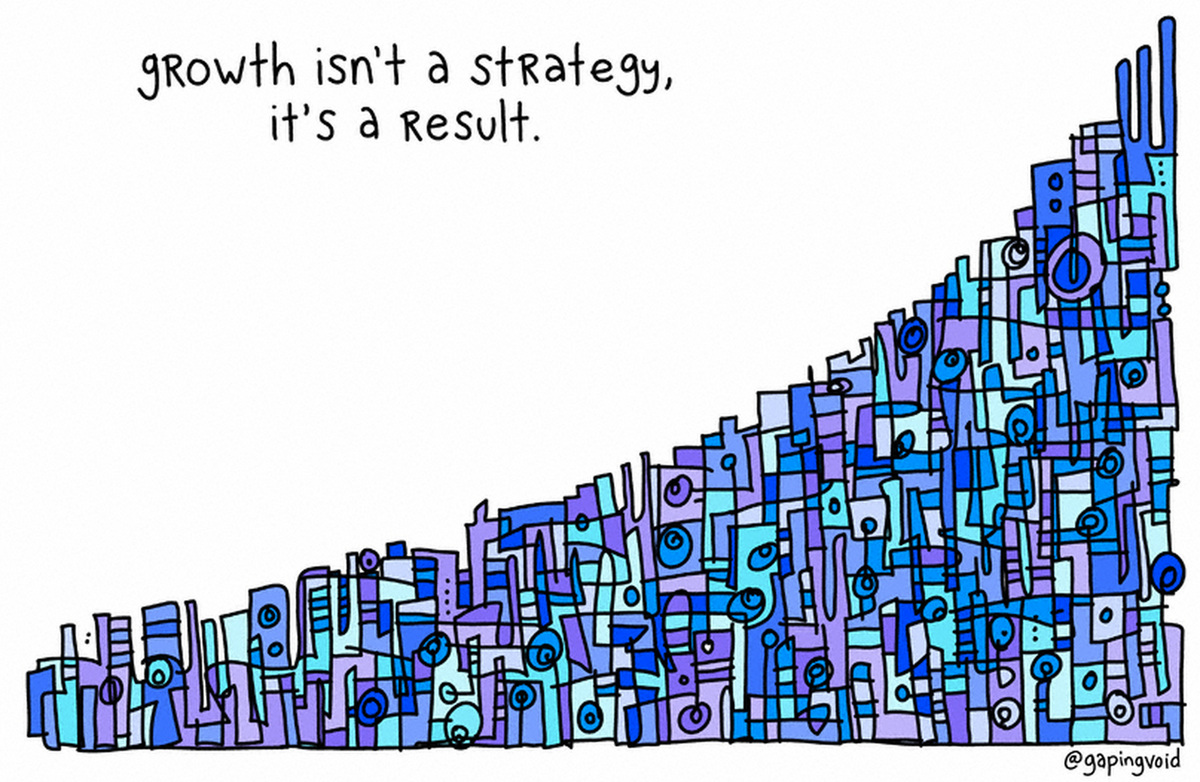 """""""Growth isn't a strategy, it's a result."""" - @gapingvoid http://t.co/4pGvbJgd7e"""
