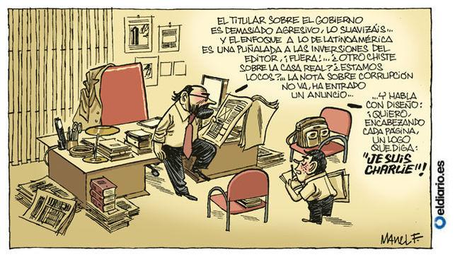 . @manuelkstano: Libertad de expresión en España. Fontdevila y su magnífica viñeta para @eldiarioes. #JeSuisCharlie http://t.co/PpdA5US055