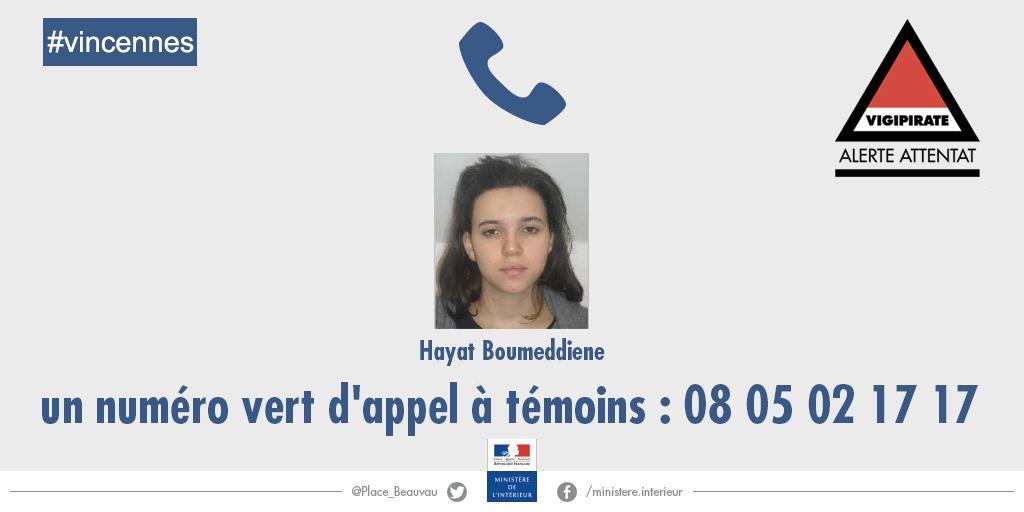 #Vincennes Appel à témoins toujours actif pour Hayat #Boumeddiene ; appelez le 0 805 02 17 17. Merci pour vos RT. http://t.co/piQoGoBhvd