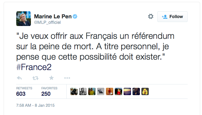 It's taken Marine le Pen only 20 hours to call for a referendum on the reintroduction of the death penalty in France http://t.co/sGOD76ml69