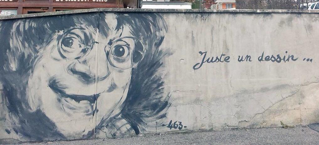Golem13 on twitter cabu dessin sur un mur r alis au for Dessin mur