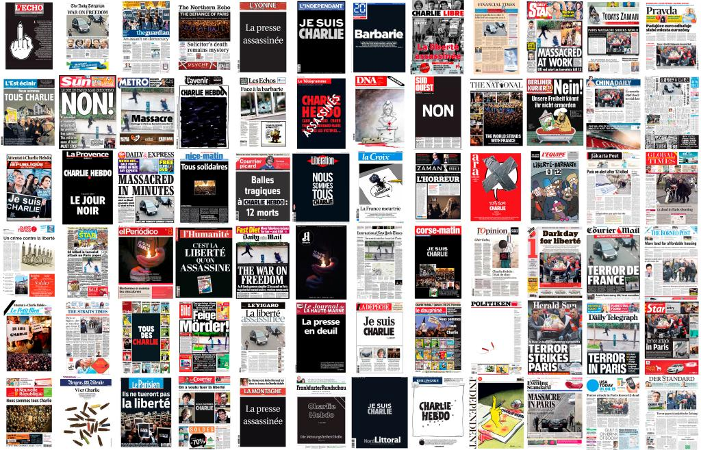 72 font pages in solidarity with #CharlieHebdo via @benoit_tessier #JeSuisCharlie http://t.co/rfZmscyfED