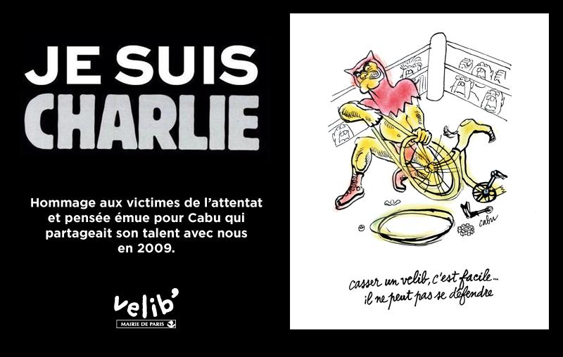#JeSuisCharlie : Les écrans des 1800 stations Vélib' vont diffuser ce message toute la journée. http://t.co/EYCPLAdsQV