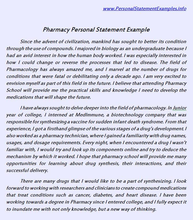 pharmacy school personal statement examples