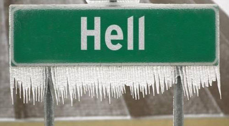 Apparently Hell froze over. Hell, Michigan that is. Pic Via @heymiller http://t.co/hHpEQFK6tY