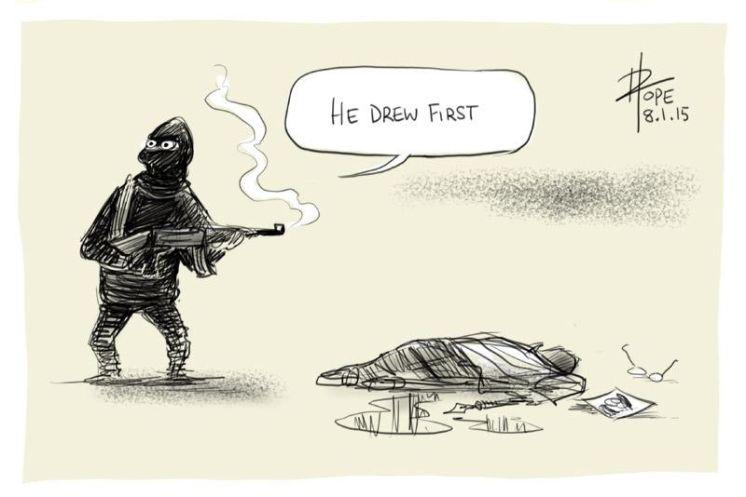 """フランスの風刺漫画のテロ襲撃で""""The pen is mightier than the sword""""、「ペンは剣よりも強し」が問われるが、この風刺漫画は「お前が最初にペンを抜いた」と皮肉 http://t.co/NMuakM3Fvc"""