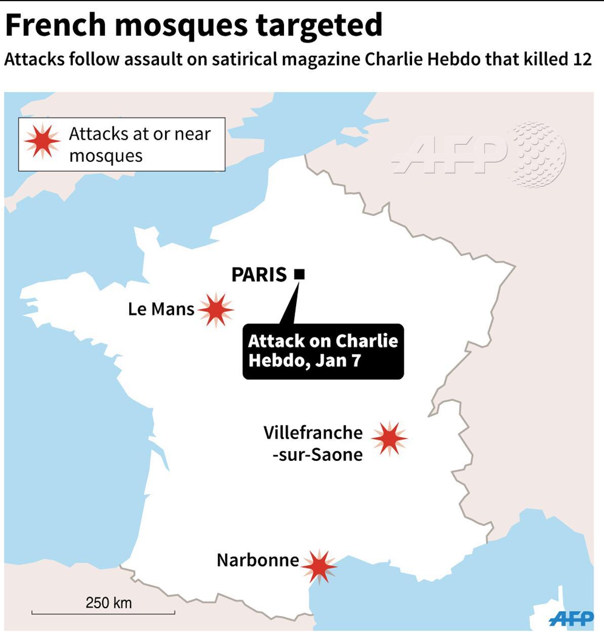 Franska moskéer som har utsatts för attentat efter gårdagens terrorattack. Foto: AFP