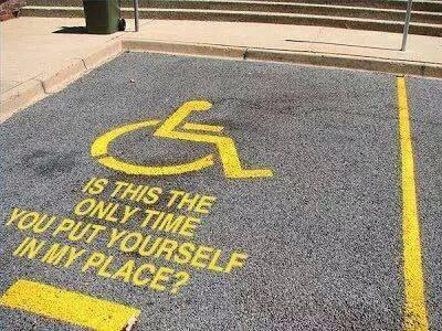 Dedicated to all the drivers who have ever misused a blue badge parking bay... http://t.co/ce5q8NMTx1