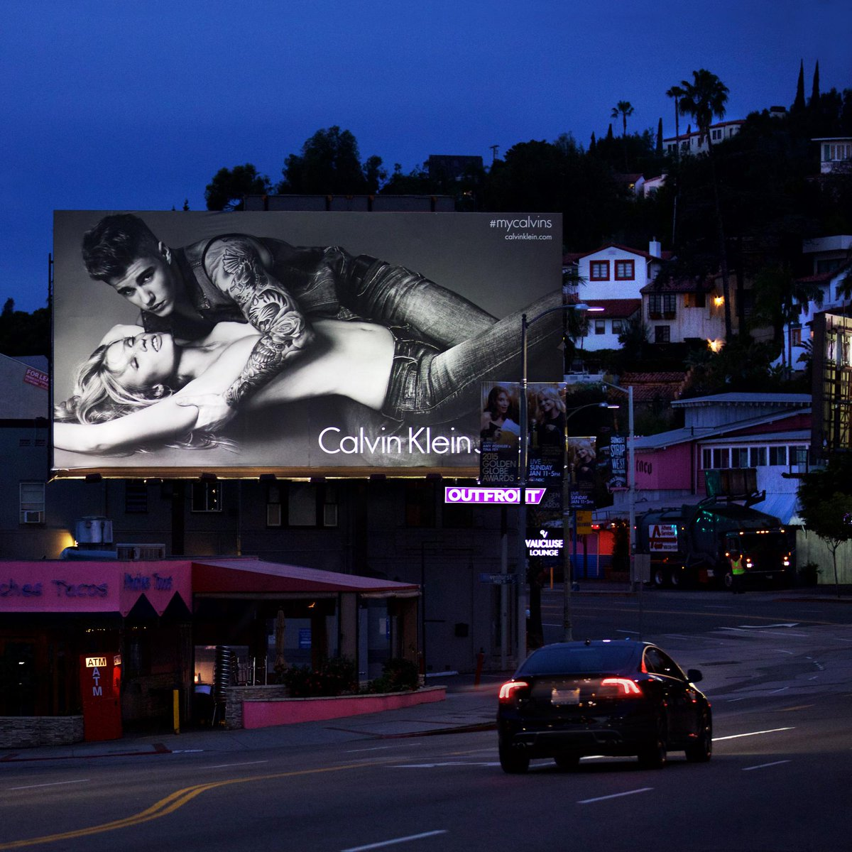 Sunset Blvd after dark. Spring 2015 Calvin Klein Jeans, featuring @justinbieber + @LaraStone. #mycalvins http://t.co/9VlBCf0RoL