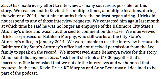 """Serial on Twitter: """"[1/4] If you're curious, here's the full statement we sent in response to an inquiry from The Intercept on Tuesday. http://t.co/sRiImoiIlq"""""""