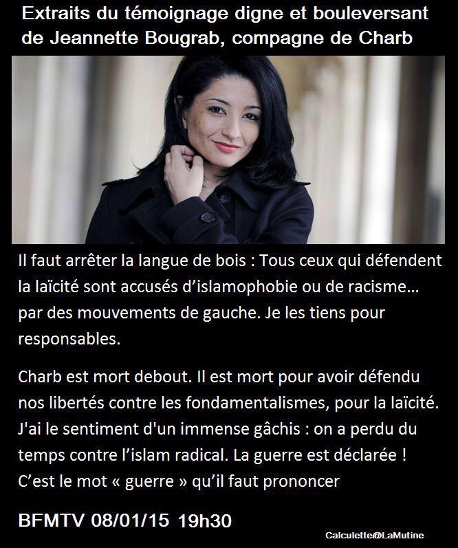 Merci à Jeanette #Bougrab, compagne de #Charb pour son témoignage http://t.co/HQQgmOoYwC