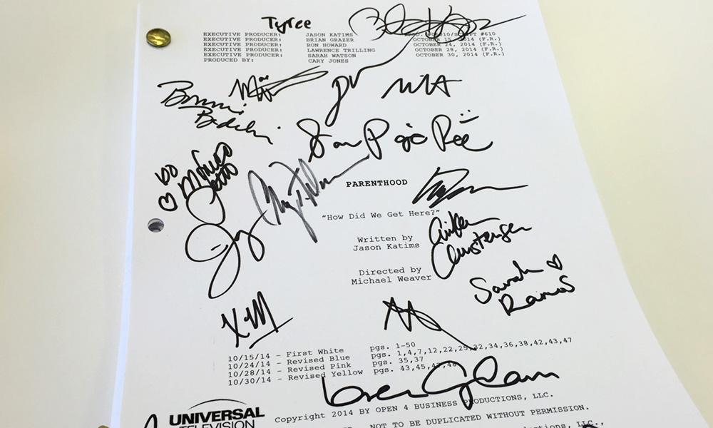 Want to own a piece of #Parenthood100 history? Of course you do! RETWEET for a chance to win this signed script. http://t.co/MoSAdbCmDS