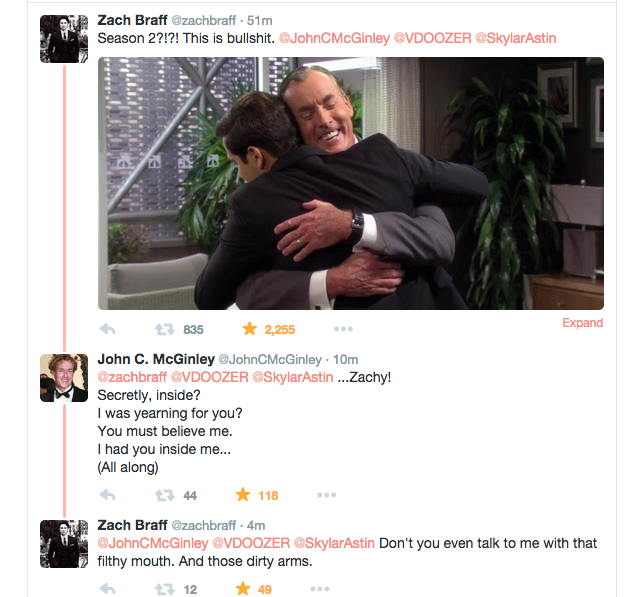 The best Tweets of 2015 and we're only 8 days into the new year! @zachbraff @JohnCMcGinley http://t.co/lU7VkrZ8RI