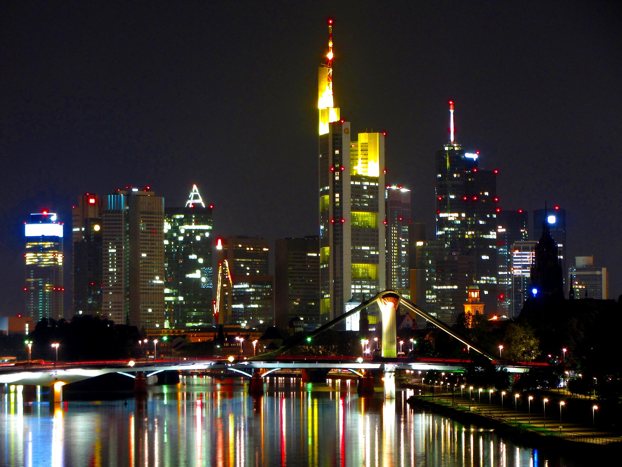 The Frankfurt skyline at night