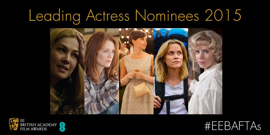 Leading Actress: Amy Adams, Felicity Jones, Julianne Moore, Reese Witherspoon, Rosamund Pike #EEBAFTAs http://t.co/w7O8D5QVKN