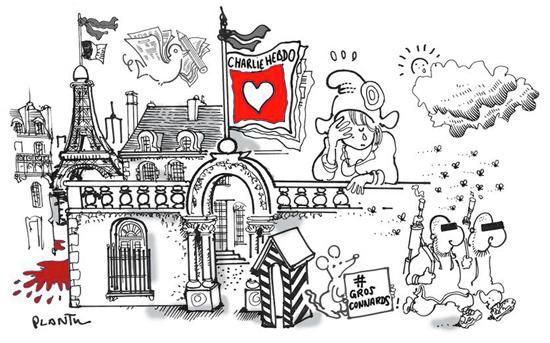 CHARLIE HEBDO: le dessin du Monde daté vendredi 9 janvier. http://t.co/7IQa94hJp4