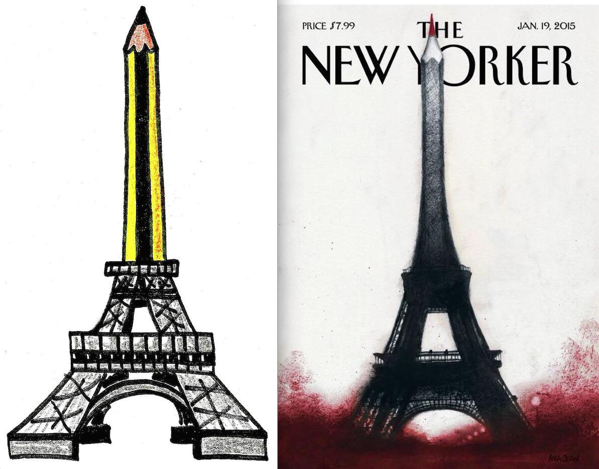 A la izquierda, la viñeta que dibujé el miércoles por #CharlieHebdo. A la derecha, la portada del @NewYorker. Toma ya http://t.co/RGTUAo0Frc