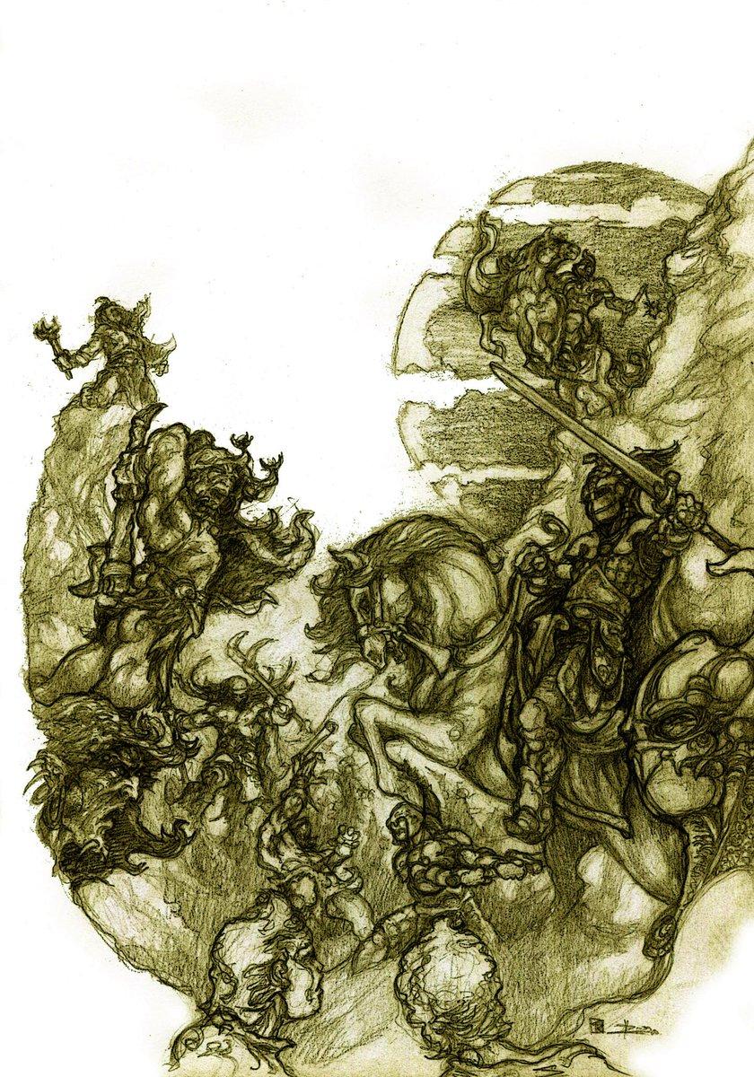 ilustración de la caída del inmortal