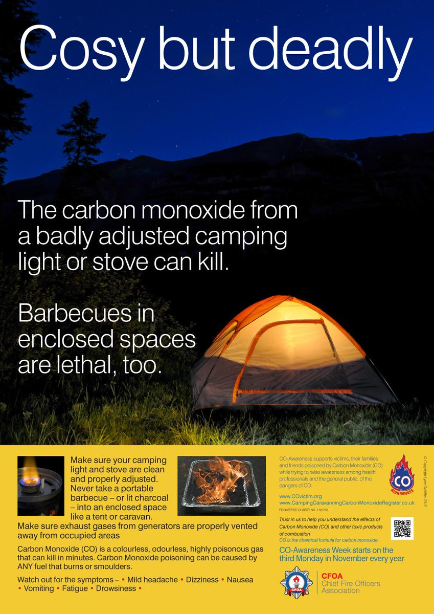GOING TO A MUSIC #FESTIVAL/CAMPING OVERNIGHT NEVERtake a lit/smoldering BARBECUE inside a tent CARBON MONOXIDE KILLS <br>http://pic.twitter.com/YK7zzZgcLl