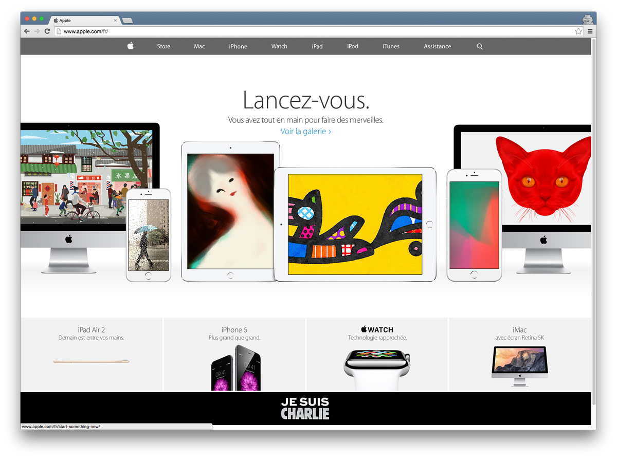 "The irony, it hurts. Apple, who repeatedly censored #CharlieHebdo on its platforms, is now claiming ""to be Charlie"" http://t.co/b1duzbndzQ"