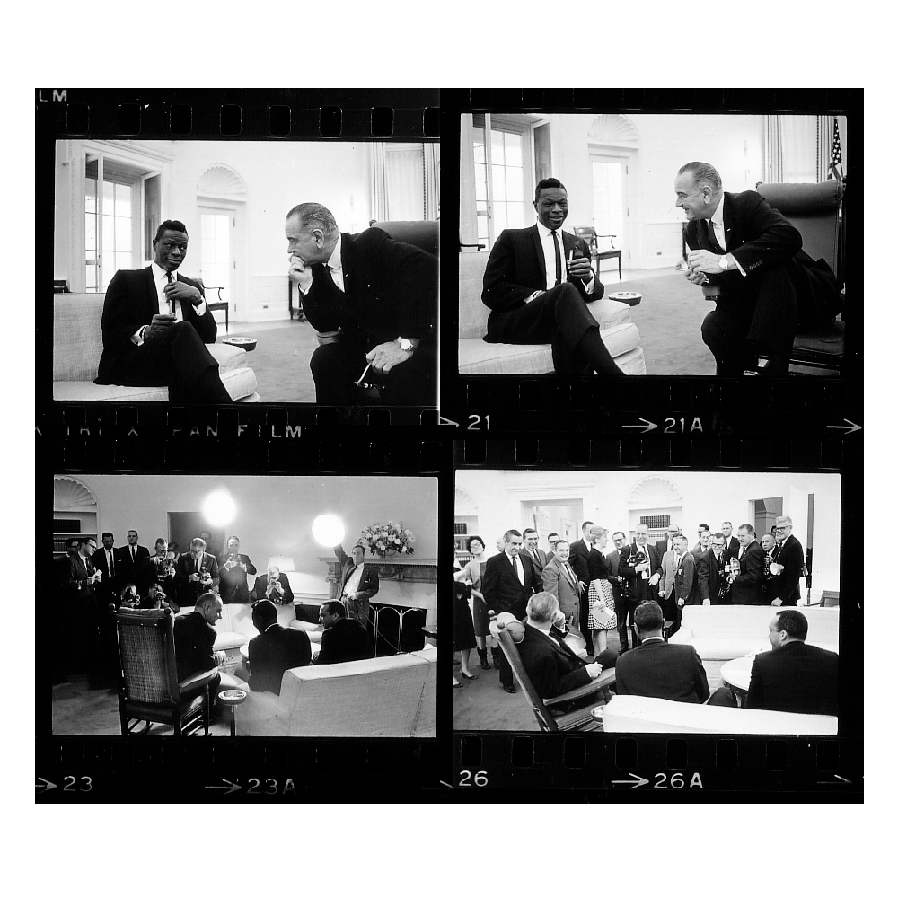Fascinating Historical Picture of Nat King Cole with Lyndon B. Johnson in 1964