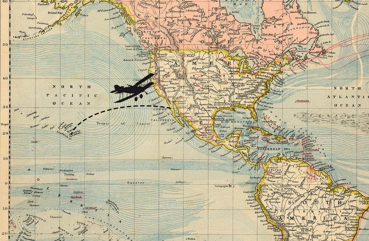 Map Of California And Hawaii.The Map House On Twitter Otd 1935 Amelia Earhart Made The 1st