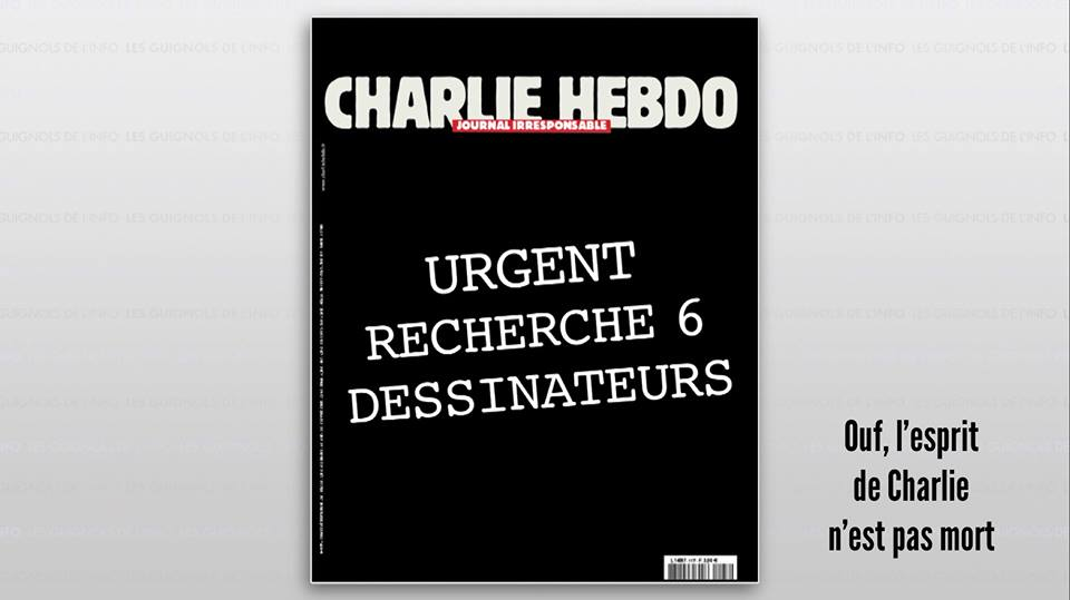 """Wow! """"@RufusHound: Incredible response - """"Urgently looking for 6 cartoonists."""" Next week's #CharlieHebdo cover http://t.co/36YOGMqIg2"""""""