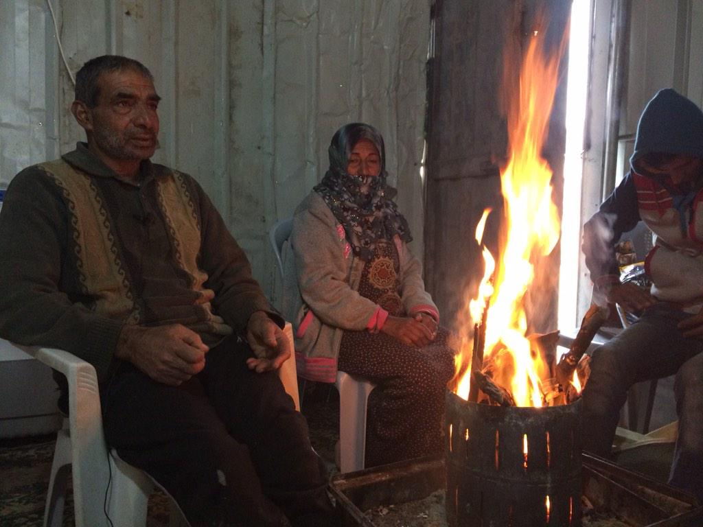 In frigid temps families have no choice but to have a fire inside their containers. This is potentially deadly. #Gaza http://t.co/qvk0fPrjqs