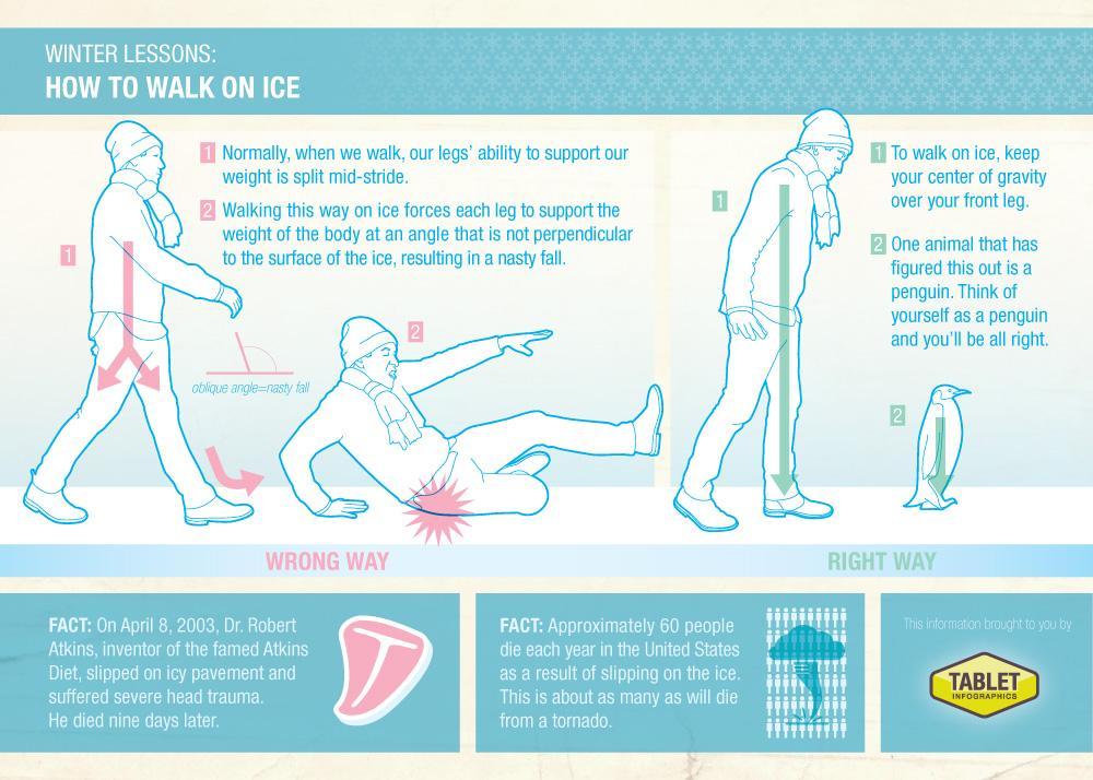 Pingvīni, čāpojot pa ledu, reti paslīd un krīt. Der pamācīties no viņiem iešanu pa slidenu virsmu maziem solīšiem: http://t.co/rLmVczS39h