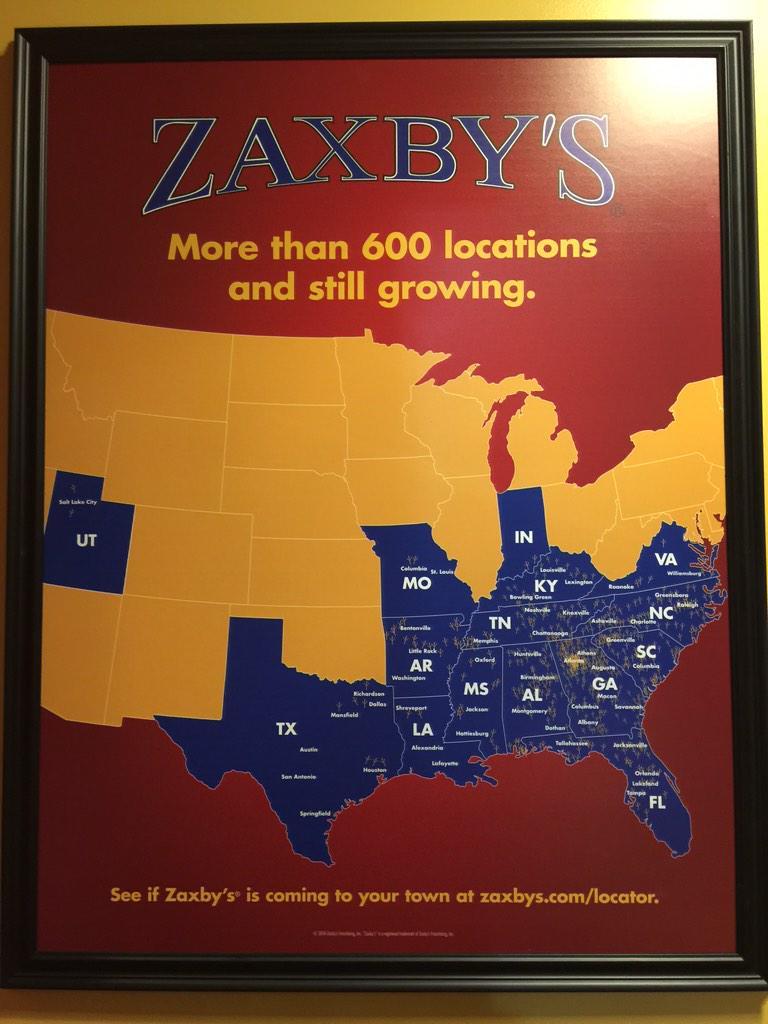Zaxbys Map on